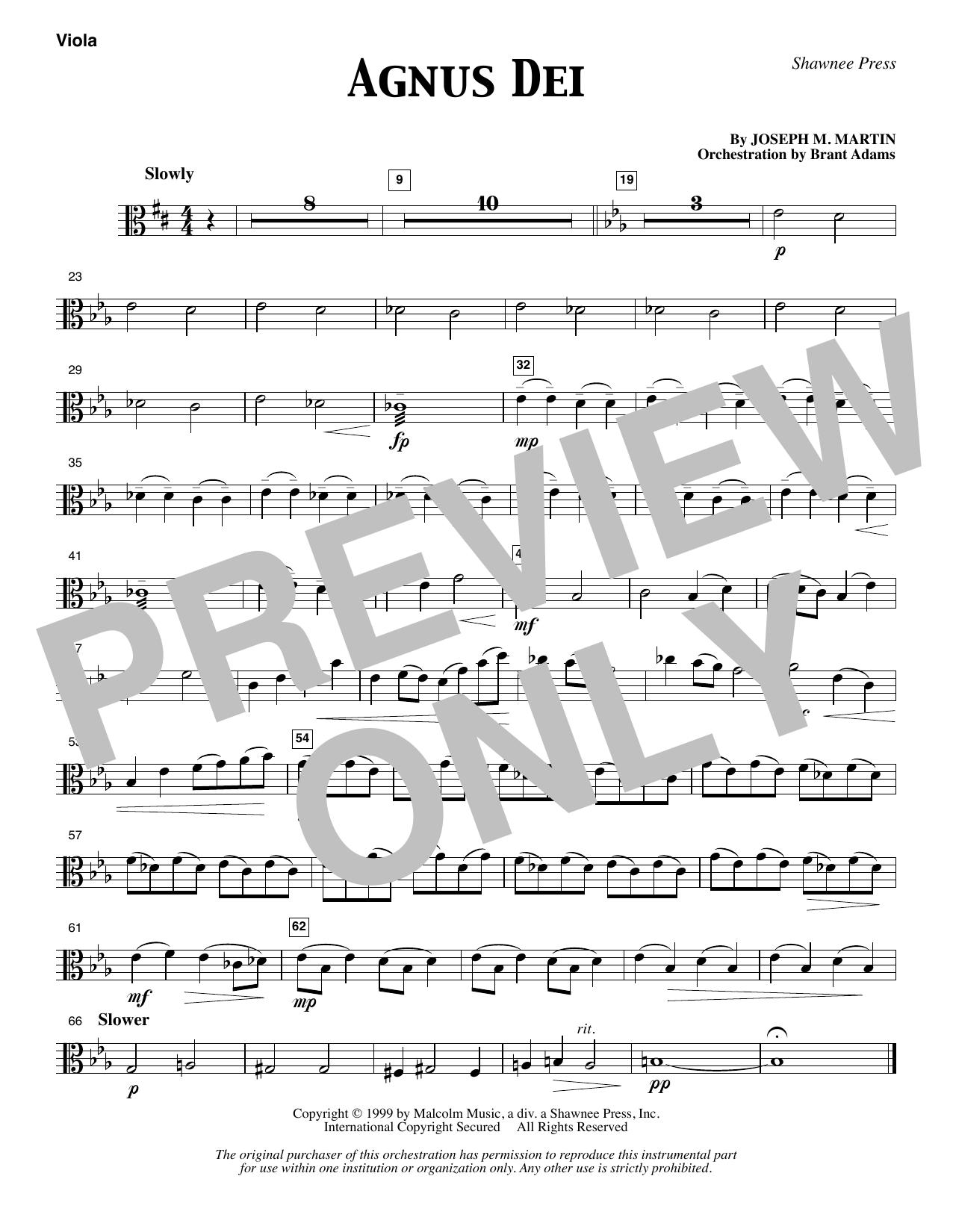 Joseph M. Martin Agnus Dei - Viola sheet music notes and chords. Download Printable PDF.