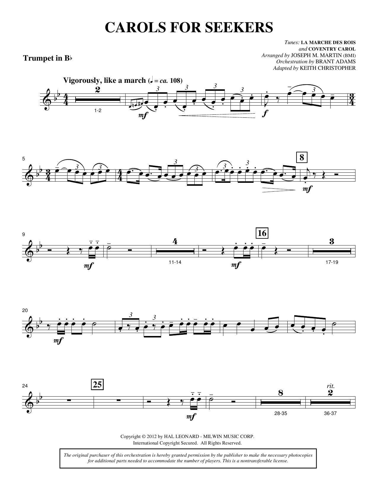 Joseph M. Martin Carols for Seekers - Bb Trumpet sheet music notes and chords. Download Printable PDF.