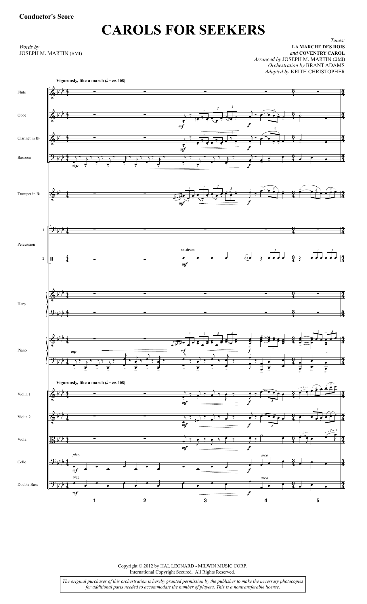 Joseph M. Martin Carols for Seekers - Full Score sheet music notes and chords. Download Printable PDF.