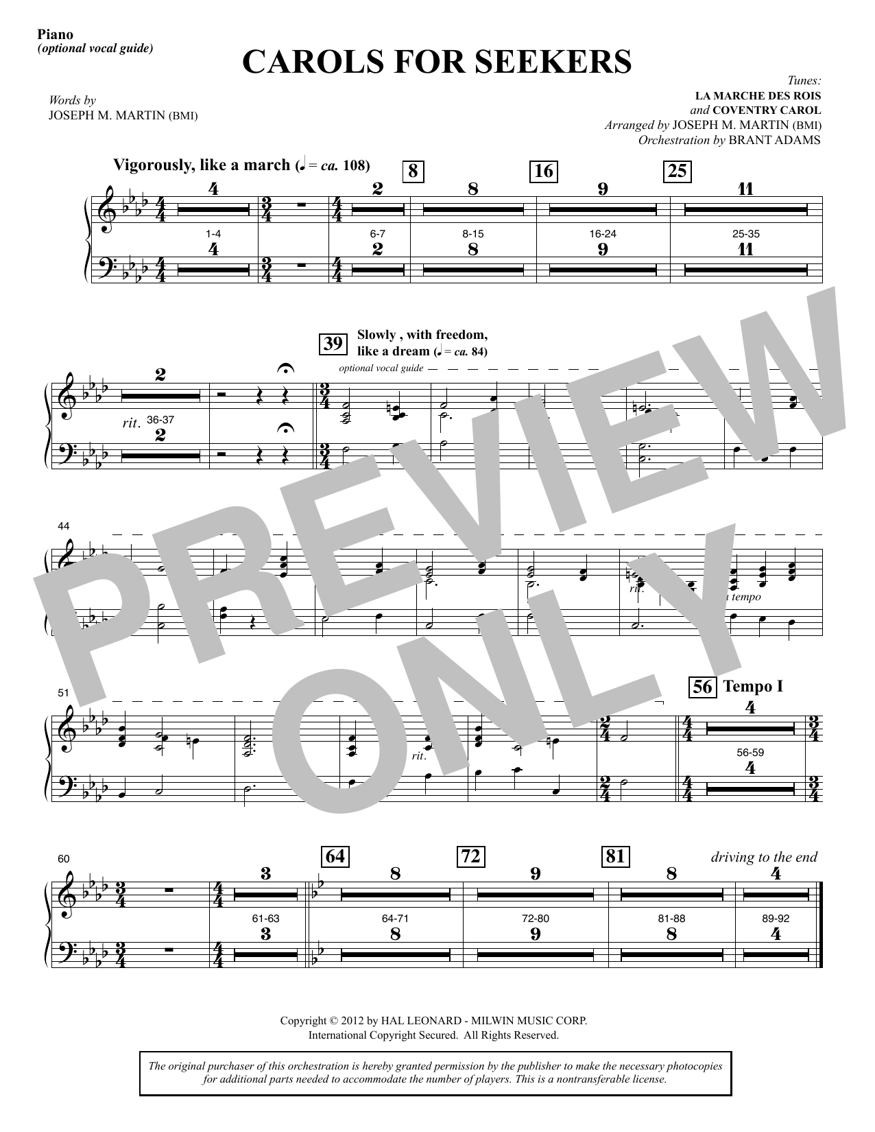 Joseph M. Martin Carols for Seekers - Piano sheet music notes and chords. Download Printable PDF.
