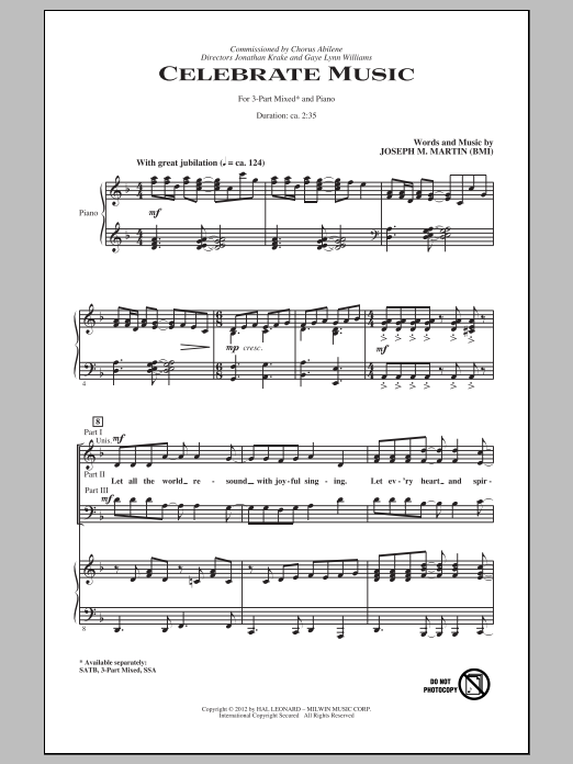Joseph M. Martin Celebrate Music sheet music notes and chords. Download Printable PDF.