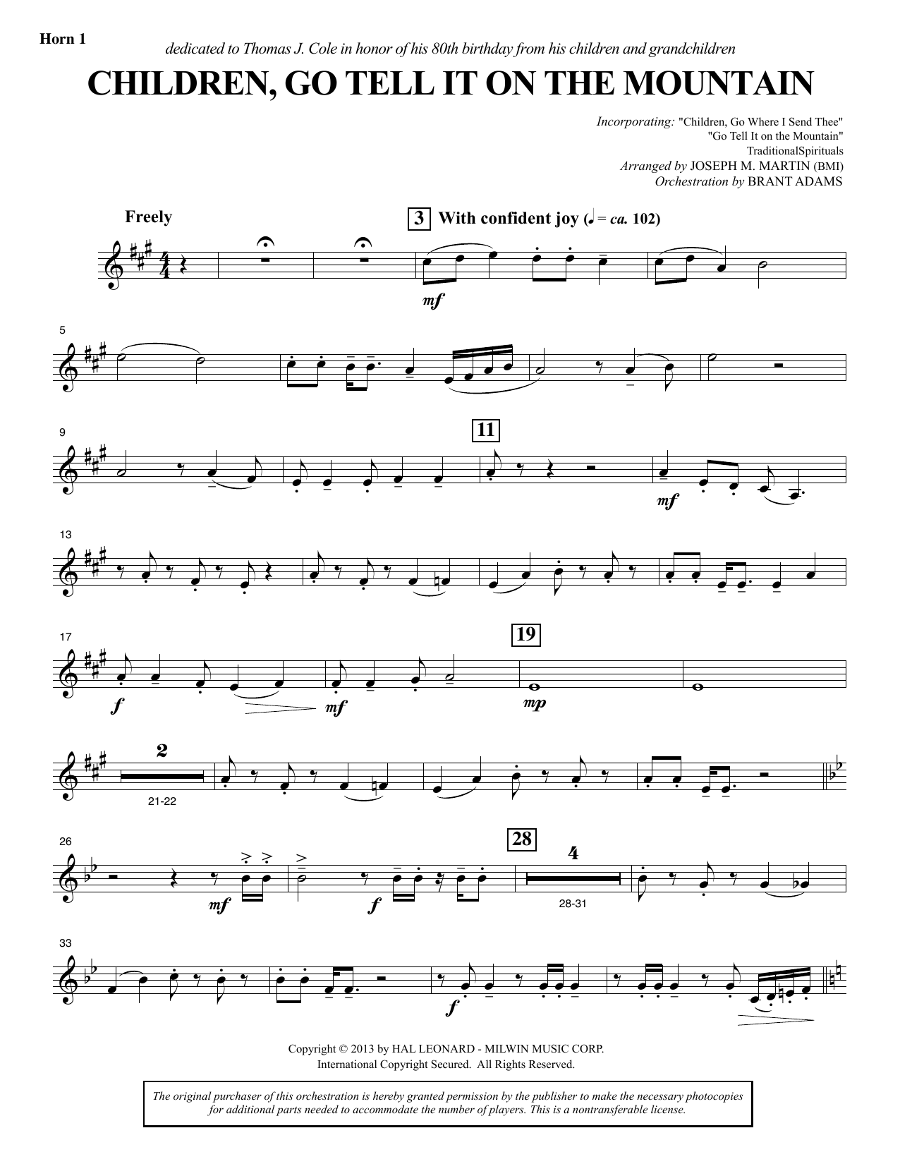 Joseph M. Martin Children, Go Tell It on the Mountain - F Horn 1 sheet music notes and chords. Download Printable PDF.
