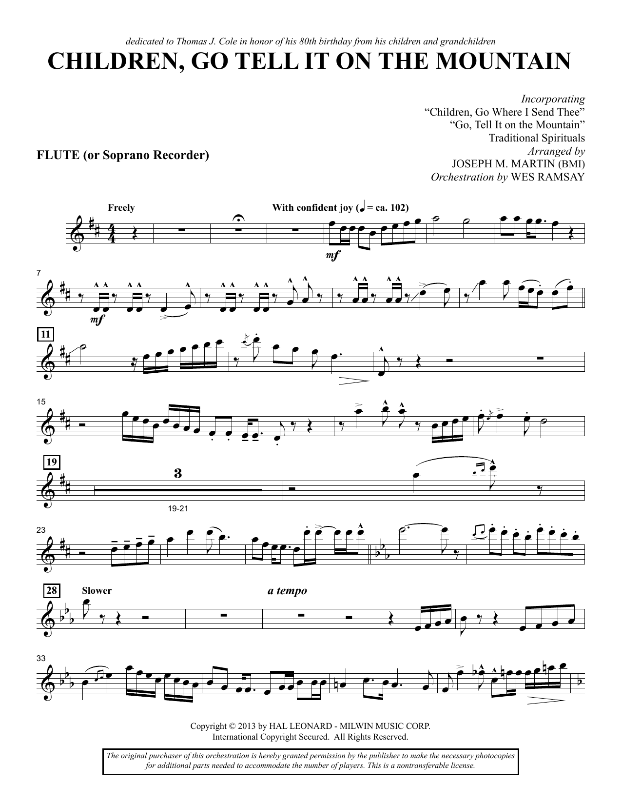 Joseph M. Martin Children, Go Tell It on the Mountain - Flute/Soprano Recorder sheet music notes and chords. Download Printable PDF.