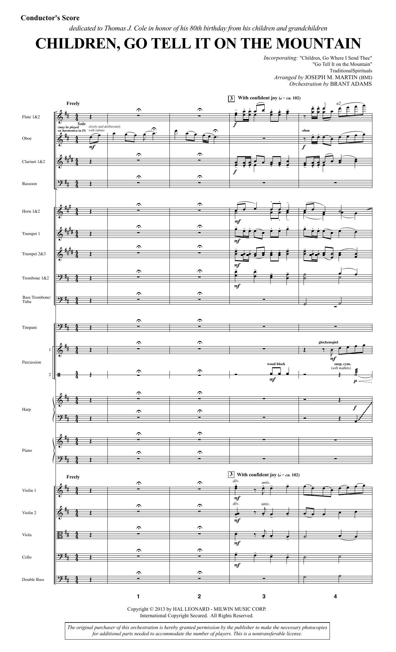 Joseph M. Martin Children, Go Tell It on the Mountain - Full Score sheet music notes and chords. Download Printable PDF.