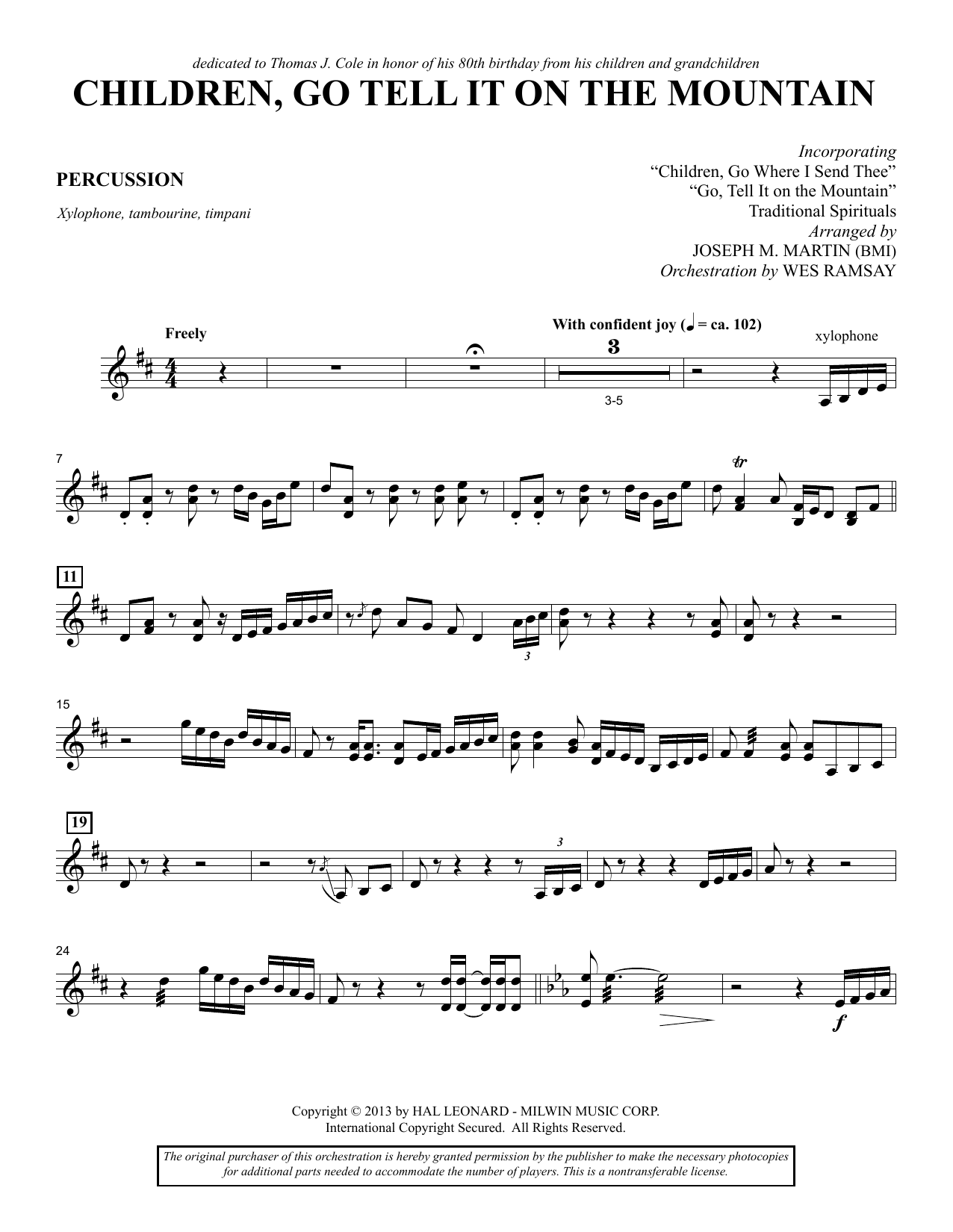 Joseph M. Martin Children, Go Tell It on the Mountain - Percussion sheet music notes and chords. Download Printable PDF.