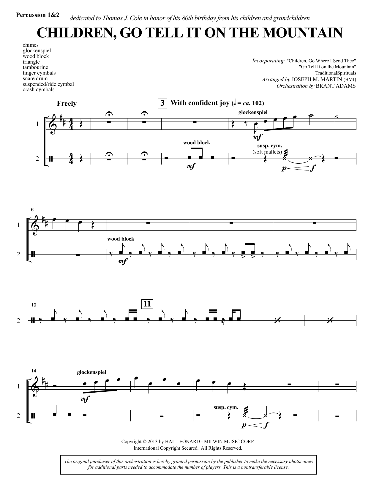 Joseph M. Martin Children, Go Tell It on the Mountain - Percussion 1 & 2 sheet music notes and chords. Download Printable PDF.
