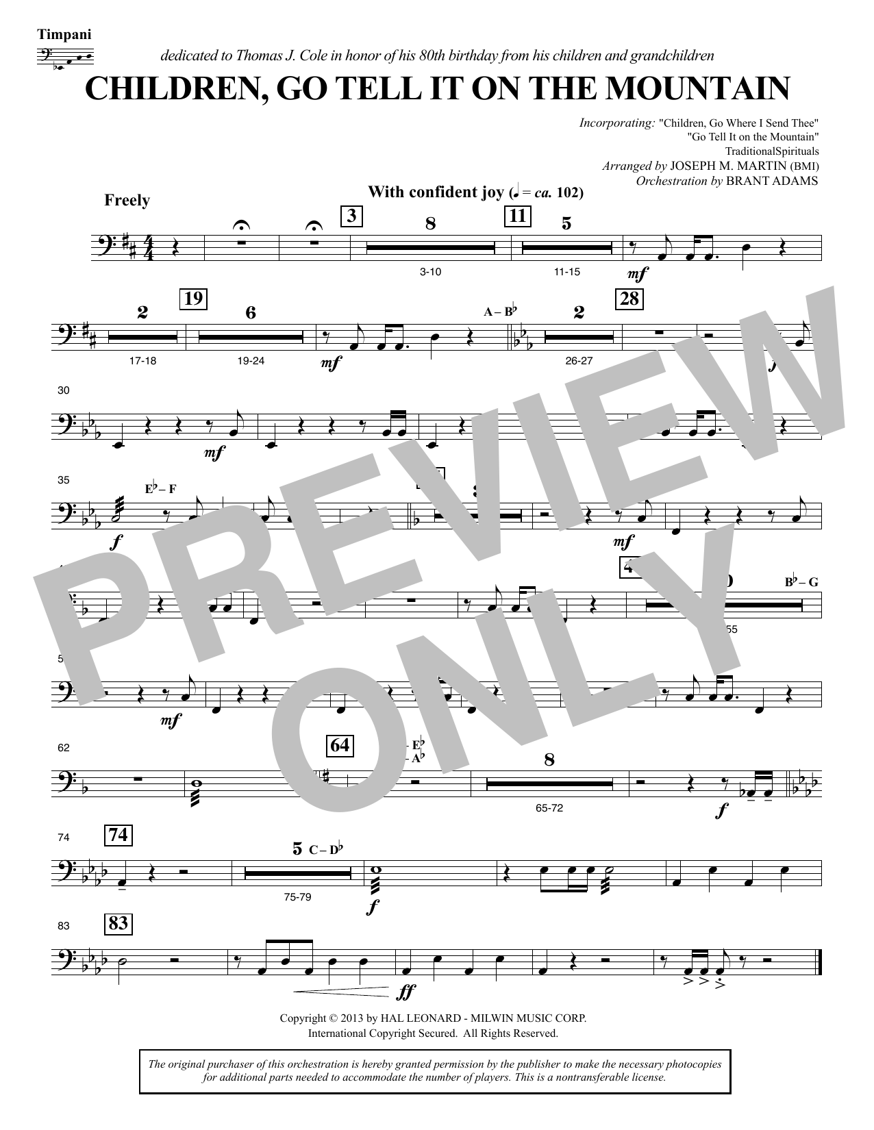 Joseph M. Martin Children, Go Tell It on the Mountain - Timpani sheet music notes and chords. Download Printable PDF.