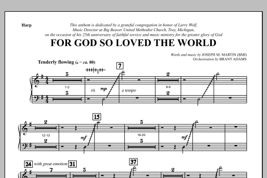 Joseph M. Martin For God So Loved the World - Harp sheet music notes and chords. Download Printable PDF.