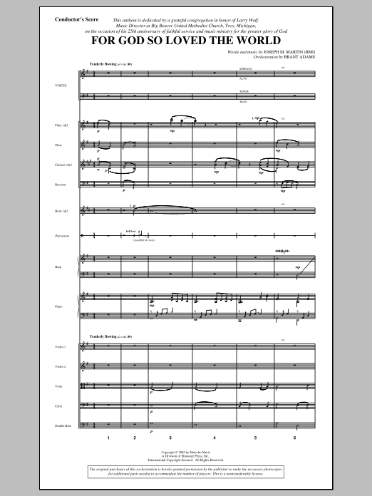 Joseph M. Martin For God So Loved the World - Score sheet music notes and chords. Download Printable PDF.