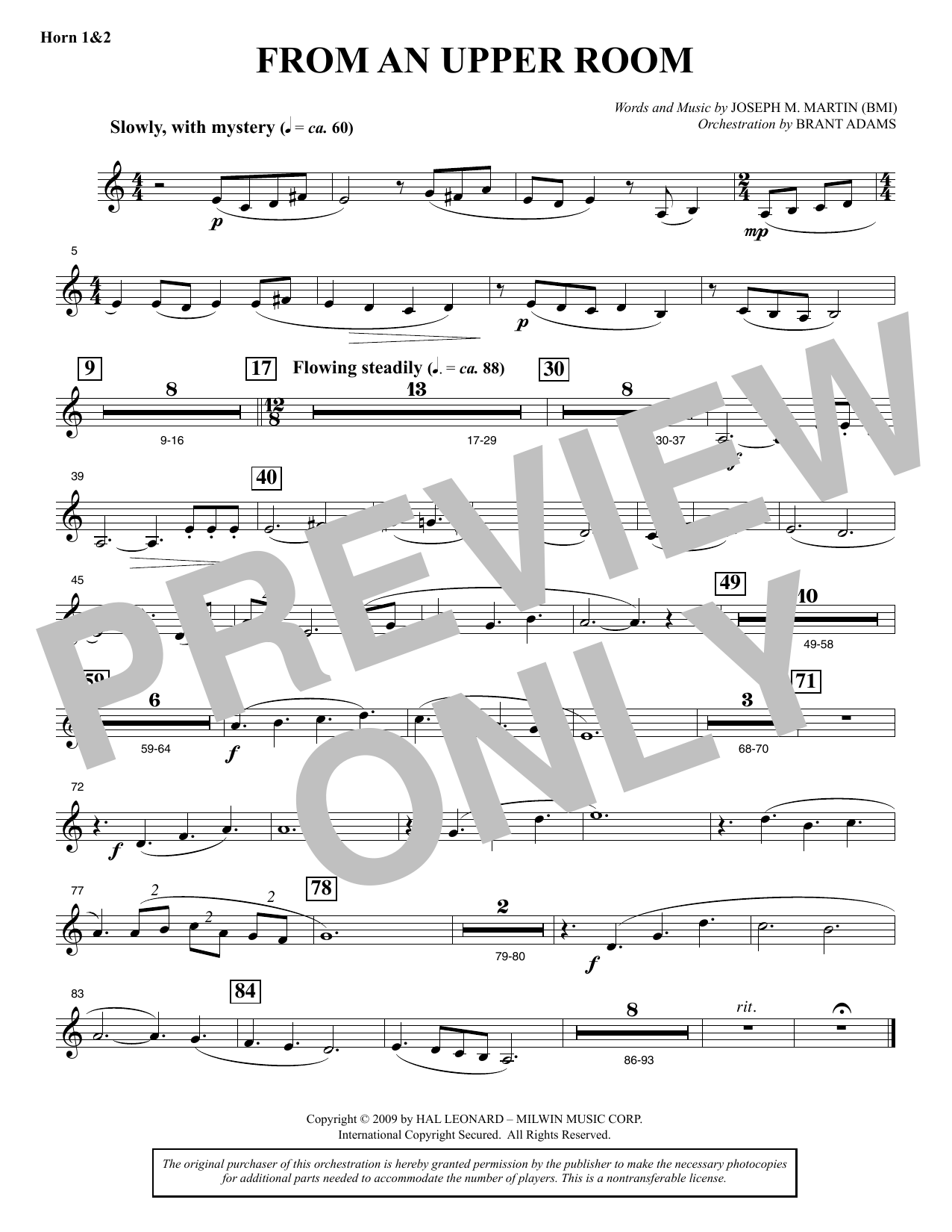 Joseph M. Martin From An Upper Room (from Lenten Sketches) - F Horn 1 & 2 sheet music notes and chords. Download Printable PDF.
