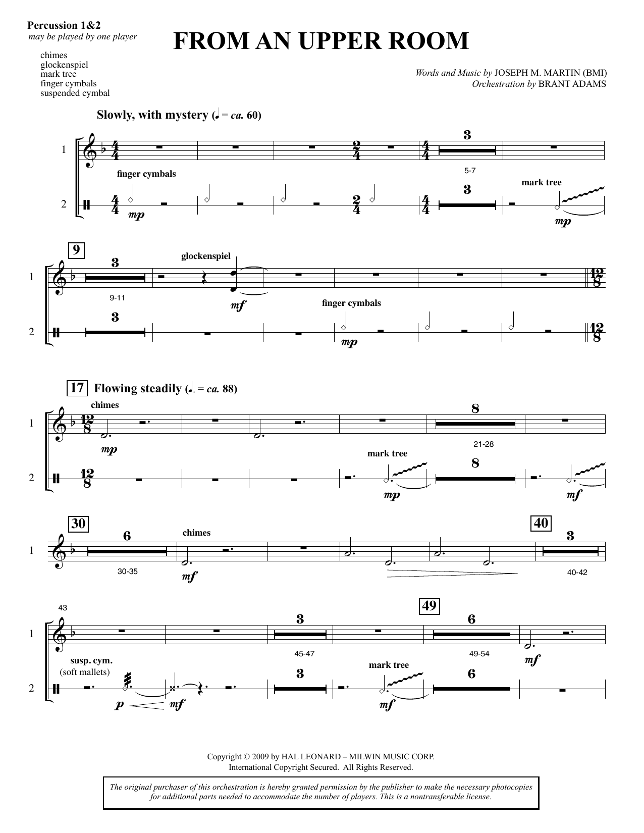 Joseph M. Martin From An Upper Room (from Lenten Sketches) - Percussion sheet music notes and chords. Download Printable PDF.