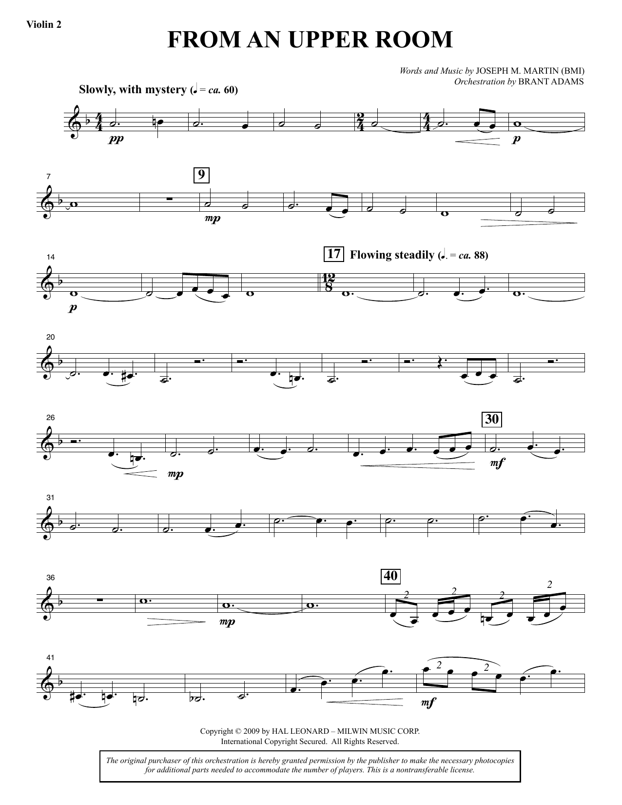 Joseph M. Martin From An Upper Room (from Lenten Sketches) - Violin 2 sheet music notes and chords. Download Printable PDF.