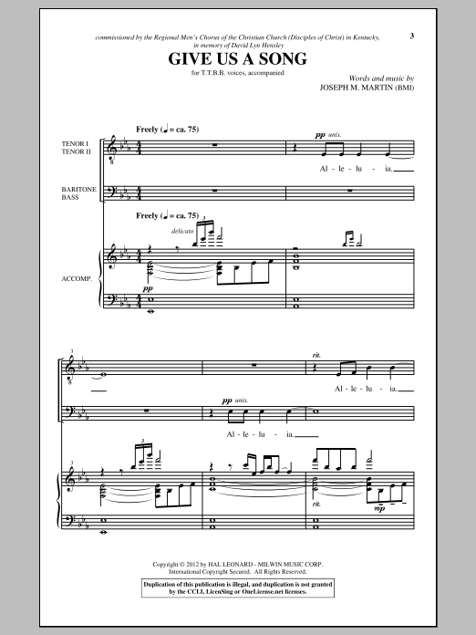 Joseph M. Martin Give Us A Song sheet music notes and chords. Download Printable PDF.