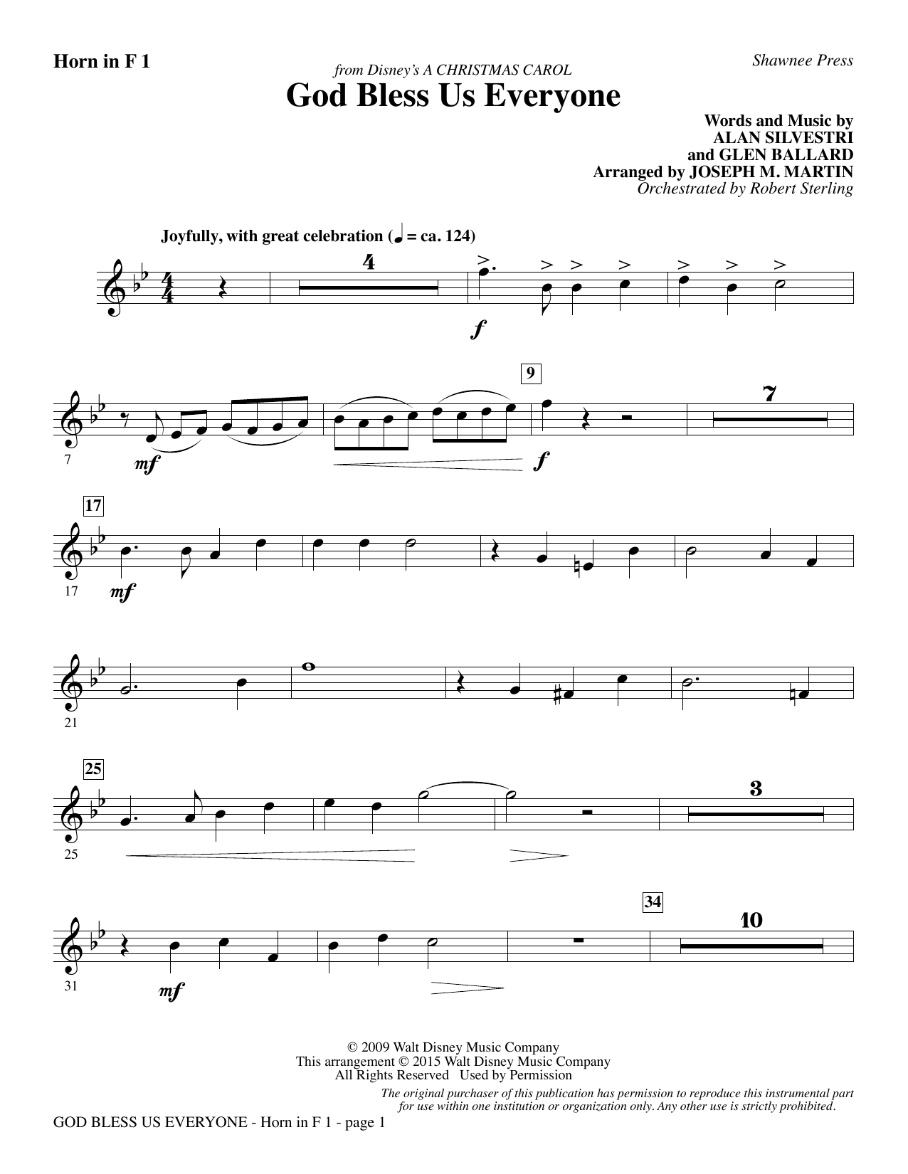 Joseph M. Martin God Bless Us Everyone (from Disney's A Christmas Carol) - F Horn 1 sheet music notes and chords. Download Printable PDF.