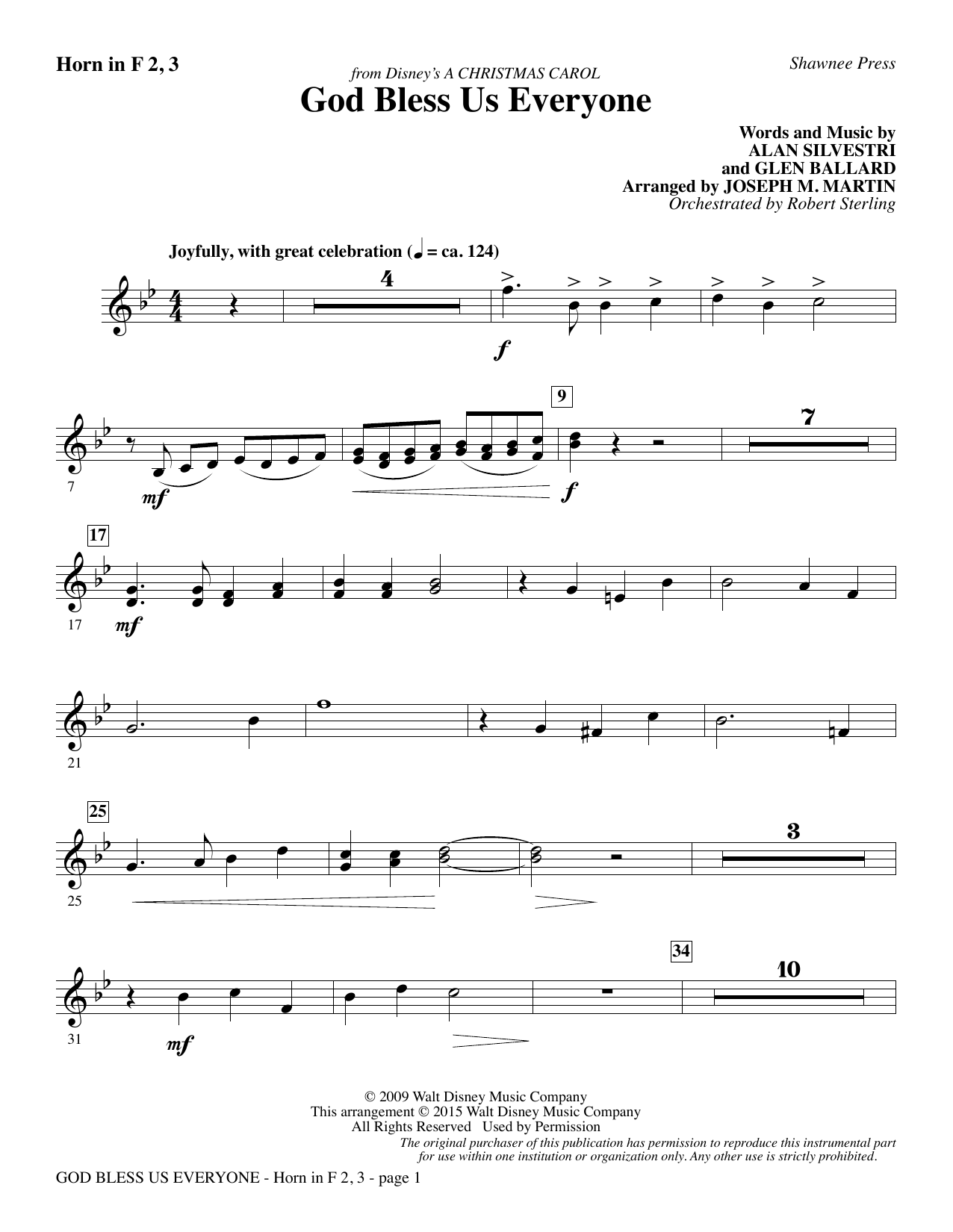 Joseph M. Martin God Bless Us Everyone (from Disney's A Christmas Carol) - F Horn 2, 3 sheet music notes and chords. Download Printable PDF.