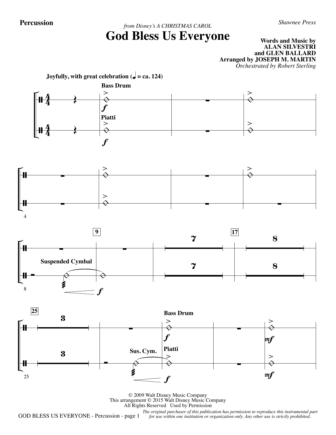 Joseph M. Martin God Bless Us Everyone (from Disney's A Christmas Carol) - Percussion sheet music notes and chords. Download Printable PDF.