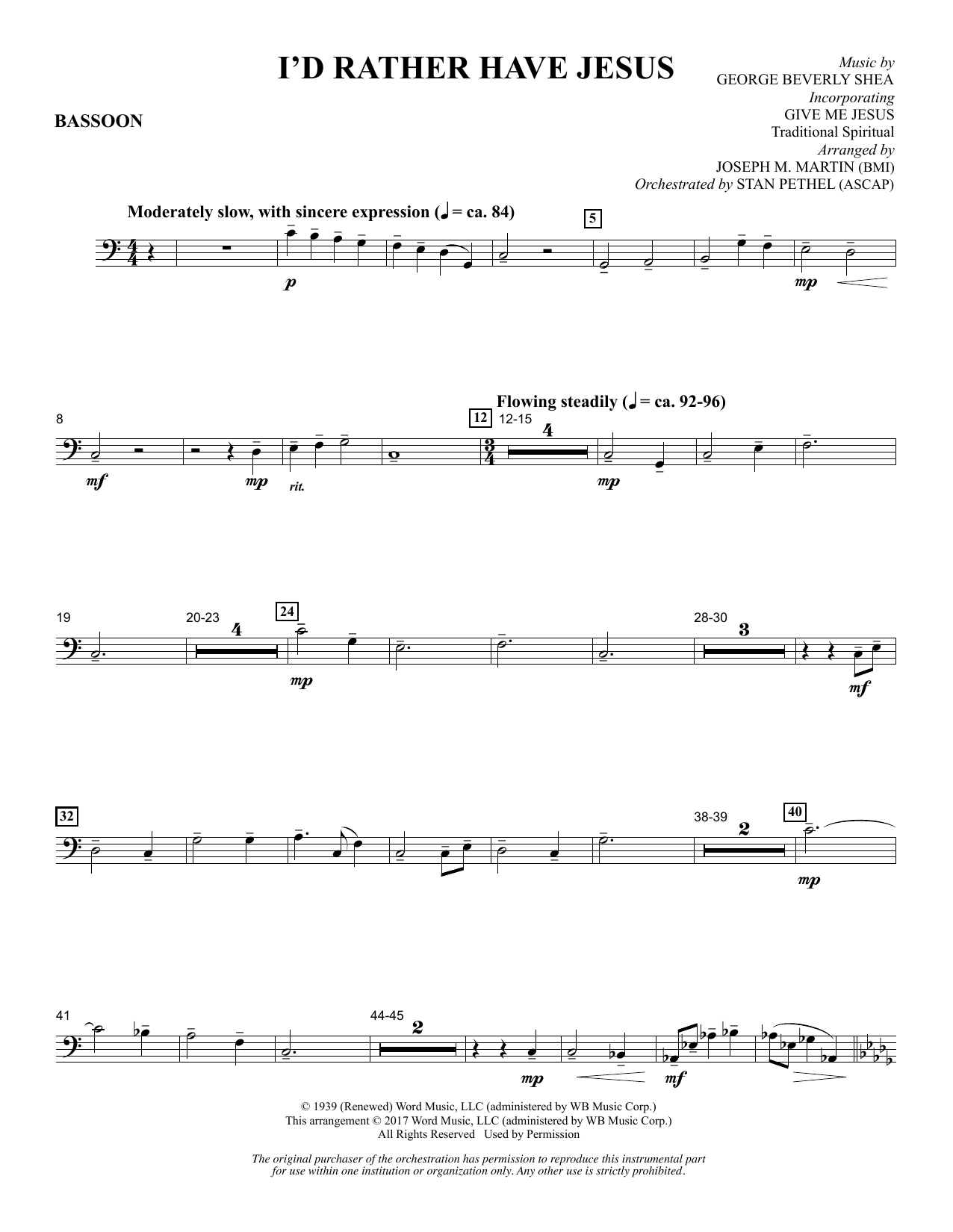 Joseph M. Martin I'd Rather Have Jesus - Bassoon sheet music notes and chords. Download Printable PDF.