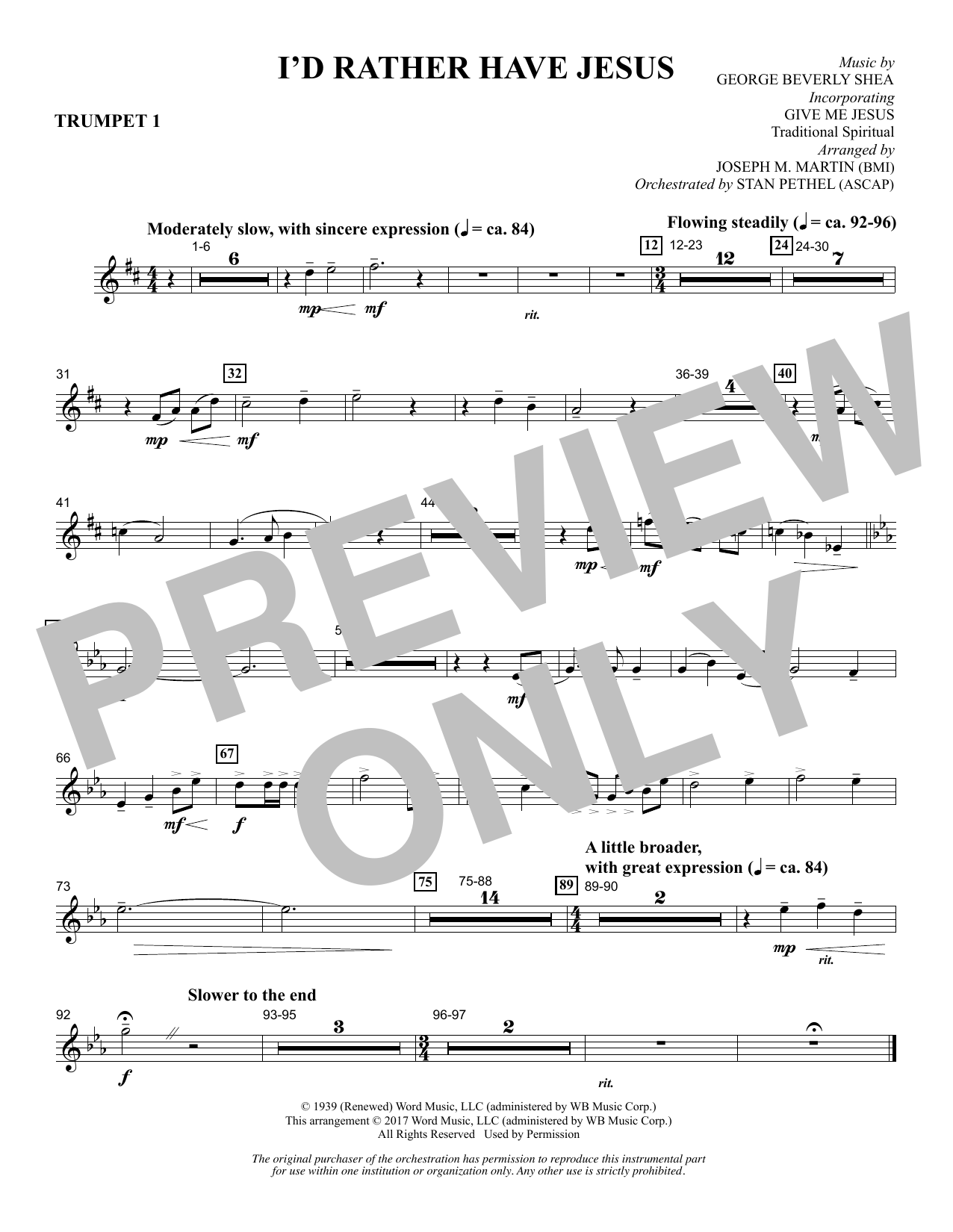 Joseph M. Martin I'd Rather Have Jesus - Bb Trumpet 1 sheet music notes and chords. Download Printable PDF.