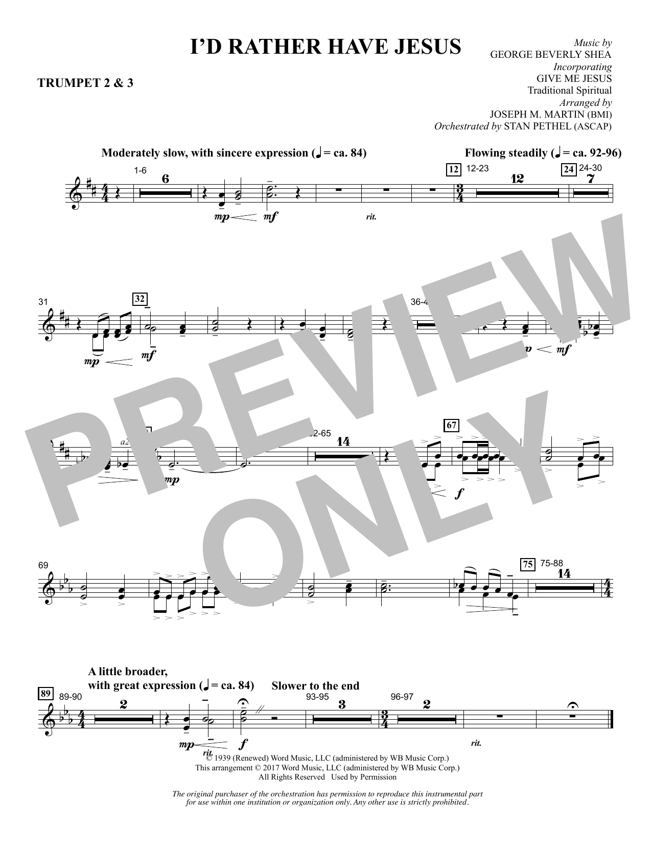 Joseph M. Martin I'd Rather Have Jesus - Bb Trumpet 2,3 sheet music notes and chords. Download Printable PDF.