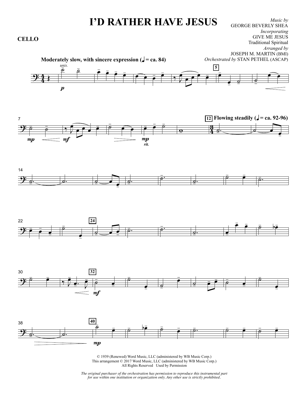 Joseph M. Martin I'd Rather Have Jesus - Cello sheet music notes and chords. Download Printable PDF.