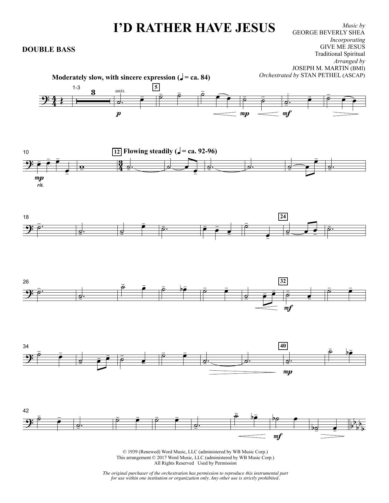 Joseph M. Martin I'd Rather Have Jesus - Double Bass sheet music notes and chords. Download Printable PDF.
