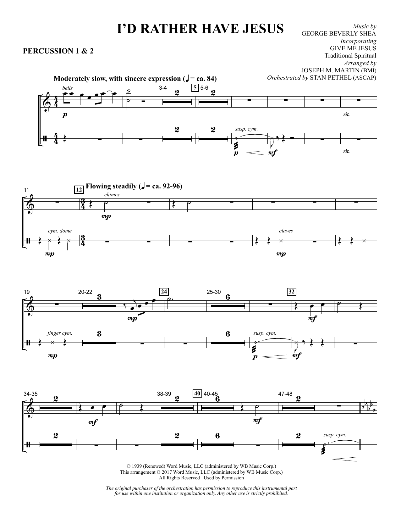 Joseph M. Martin I'd Rather Have Jesus - Percussion 1 & 2 sheet music notes and chords. Download Printable PDF.