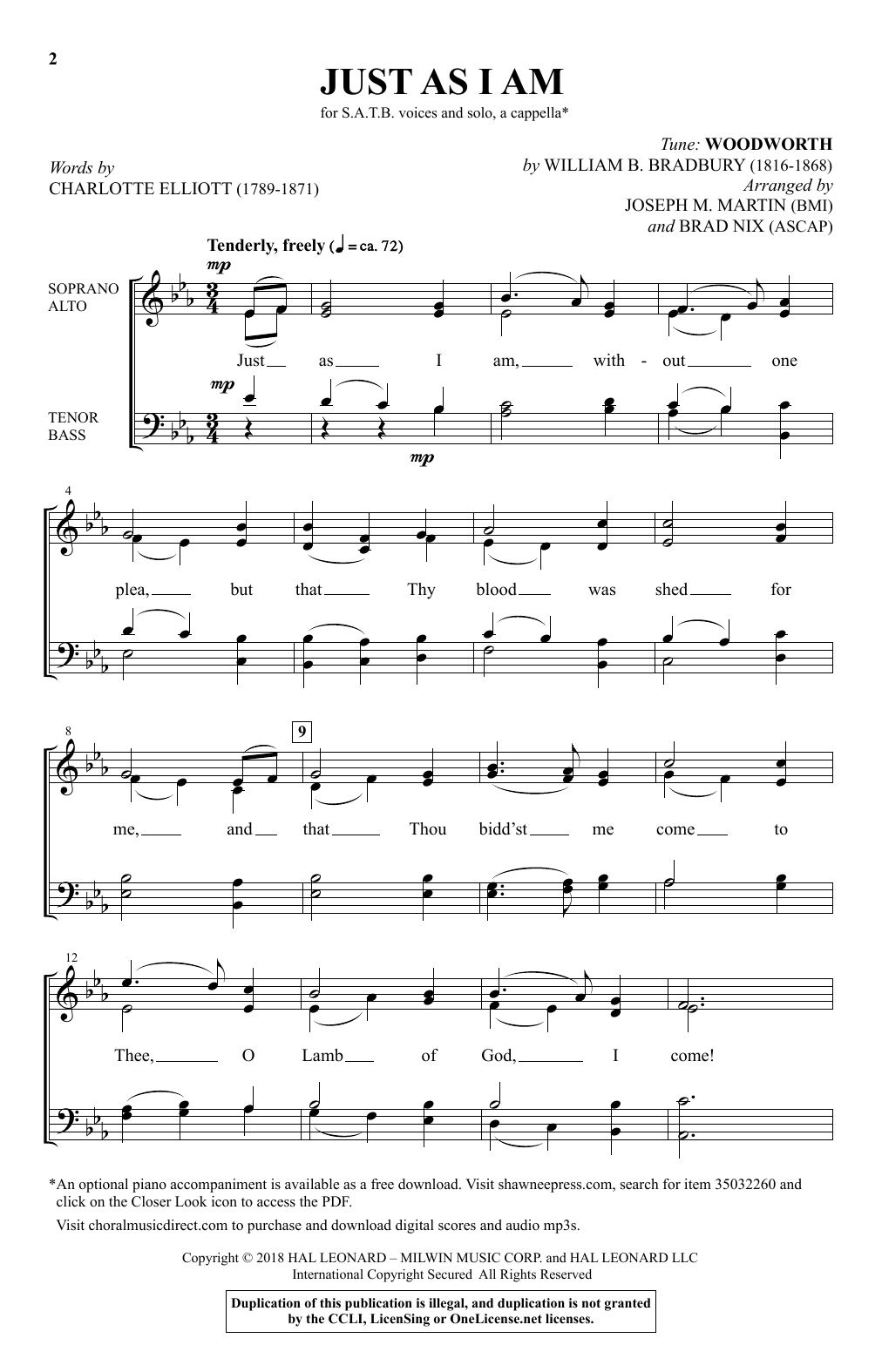 Joseph M. Martin Just As I Am sheet music notes and chords. Download Printable PDF.