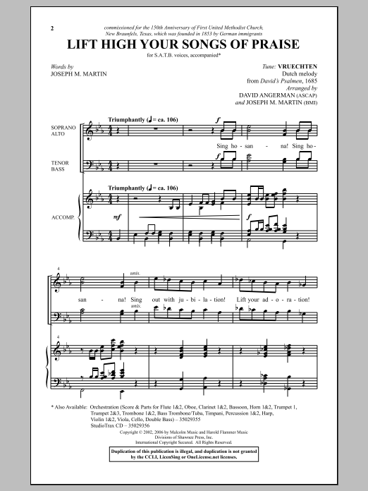 Joseph M. Martin Lift High Your Songs Of Praise sheet music notes and chords. Download Printable PDF.