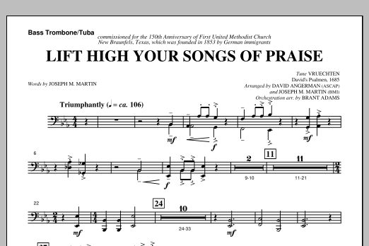 Joseph M. Martin Lift High Your Songs Of Praise (from Footprints In The Sand) - Bass Trombone/Tuba sheet music notes and chords. Download Printable PDF.