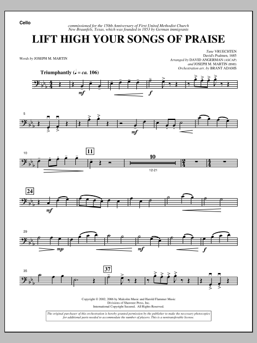 Joseph M. Martin Lift High Your Songs Of Praise (from Footprints In The Sand) - Cello sheet music notes and chords. Download Printable PDF.