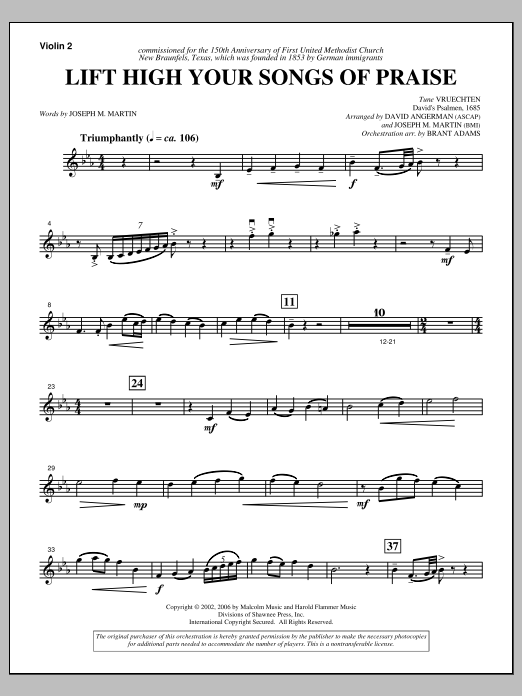 Joseph M. Martin Lift High Your Songs Of Praise (from Footprints In The Sand) - Violin 2 sheet music notes and chords. Download Printable PDF.