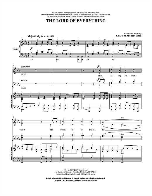 Joseph M. Martin Lord Of Everything sheet music notes and chords