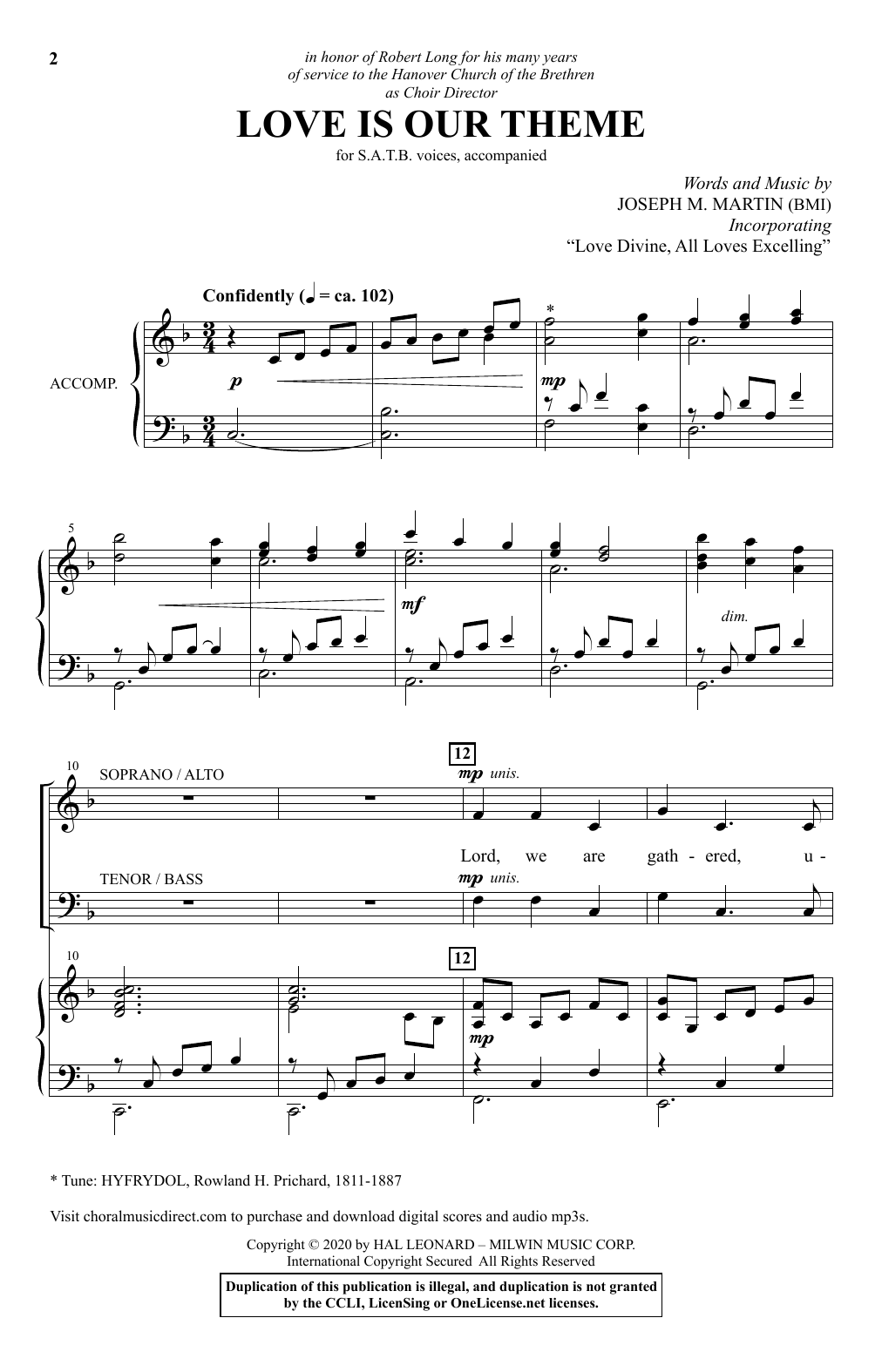 Joseph M. Martin Love Is Our Theme sheet music notes and chords. Download Printable PDF.