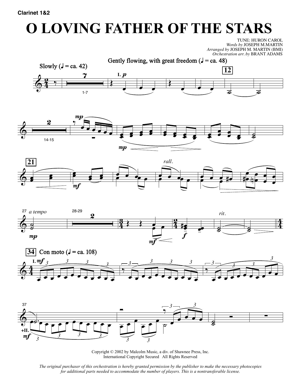 Joseph M. Martin O Loving Father Of The Stars (from Morning Star) - Bb Clarinet 1 & 2 sheet music notes and chords. Download Printable PDF.