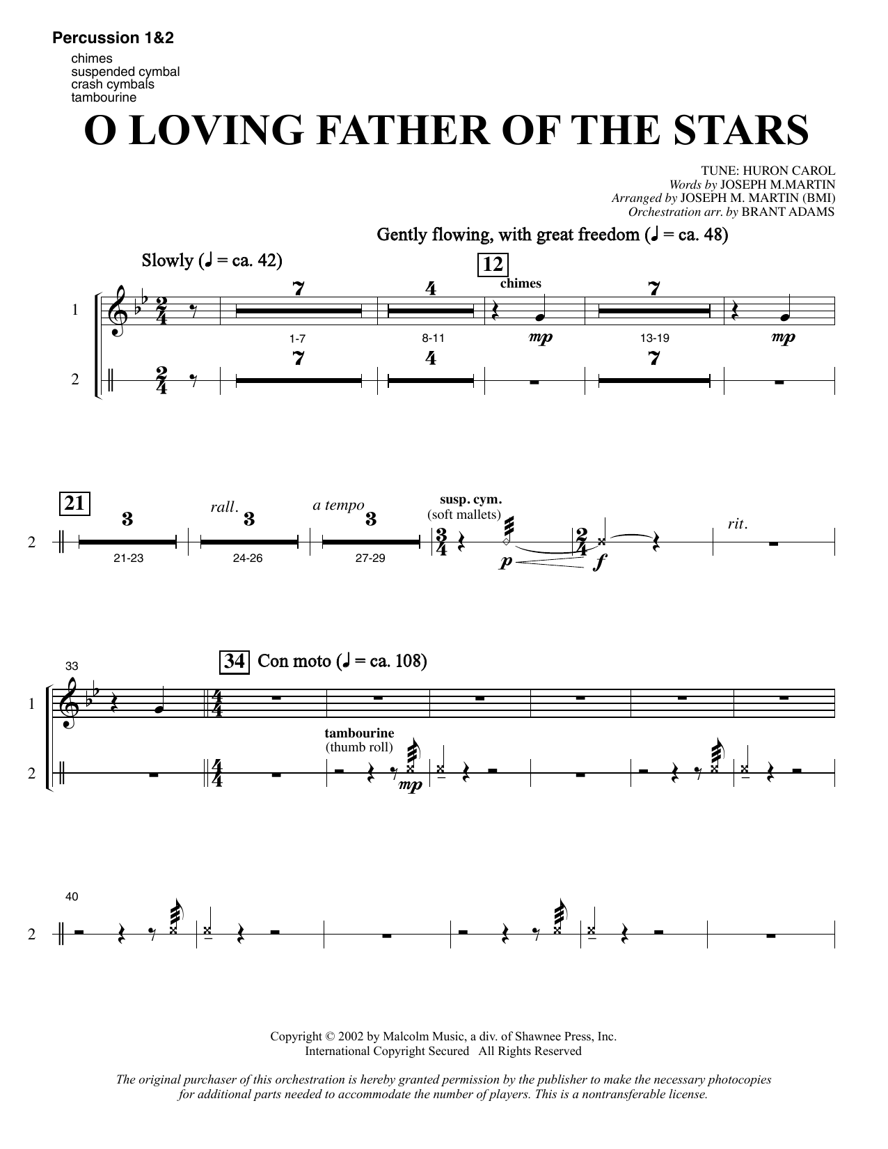 Joseph M. Martin O Loving Father Of The Stars (from Morning Star) - Percussion 1 & 2 sheet music notes and chords. Download Printable PDF.