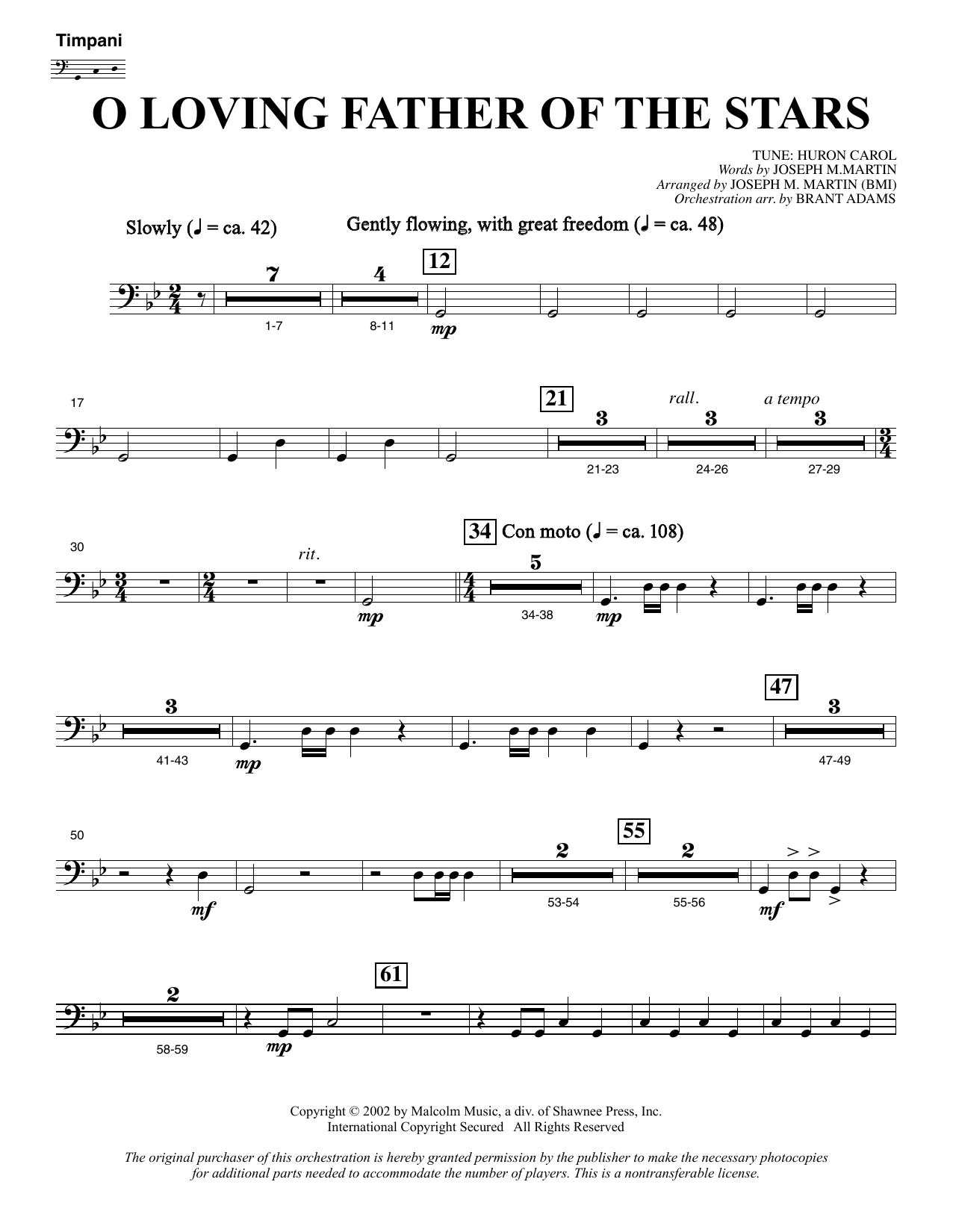 Joseph M. Martin O Loving Father Of The Stars (from Morning Star) - Timpani sheet music notes and chords. Download Printable PDF.