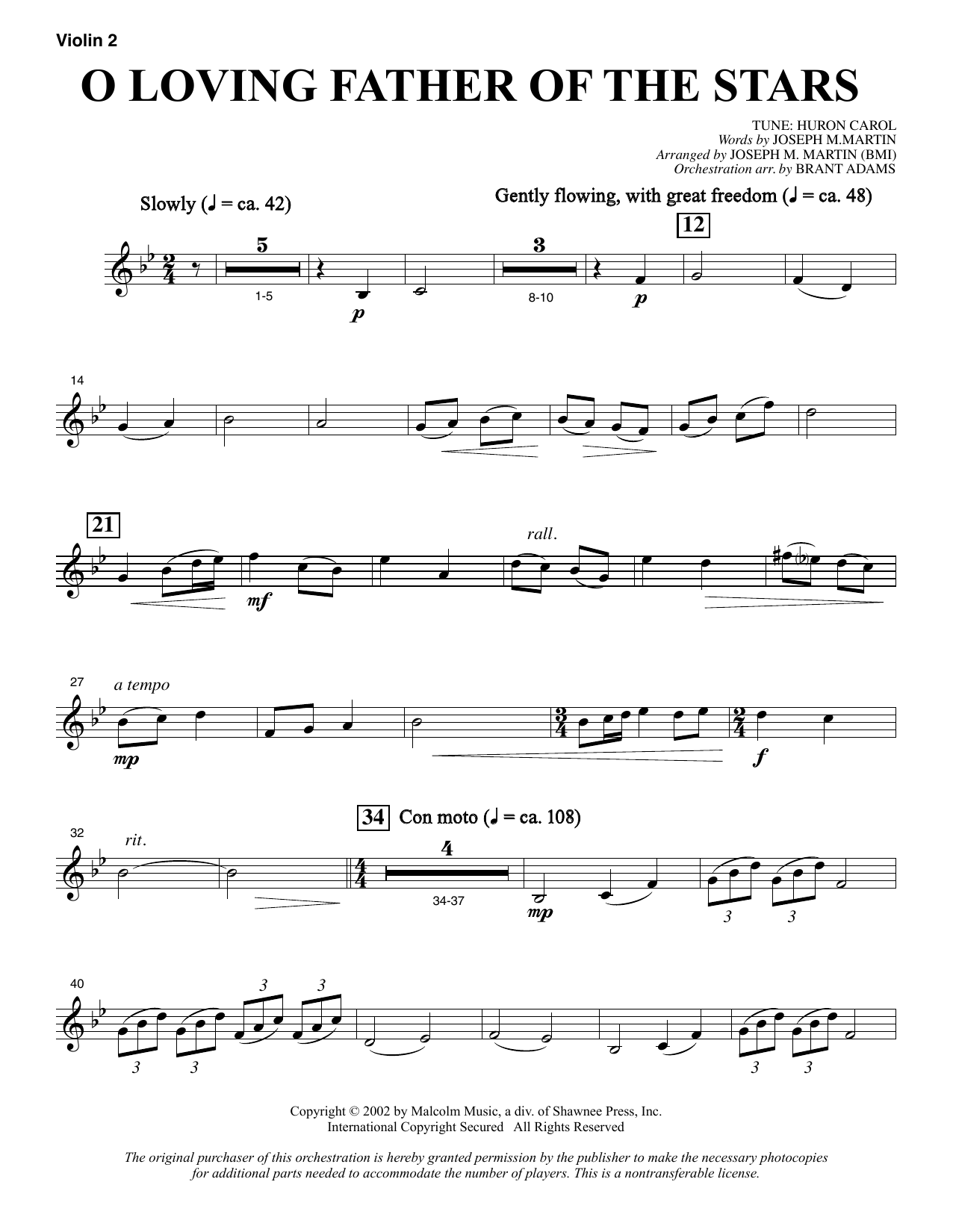 Joseph M. Martin O Loving Father Of The Stars (from Morning Star) - Violin 2 sheet music notes and chords. Download Printable PDF.