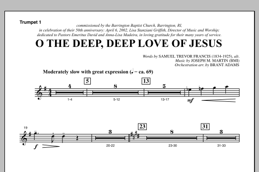 Joseph M. Martin O The Deep, Deep Love Of Jesus (from Harvest Of Sorrows) - Bb Trumpet 1 sheet music notes and chords. Download Printable PDF.