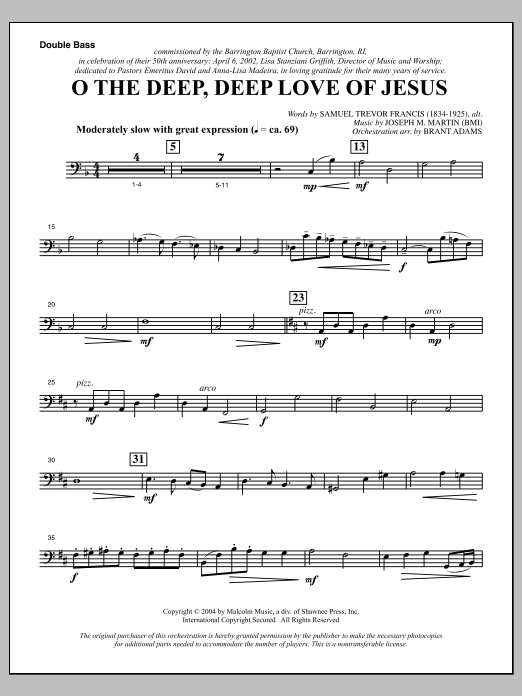 Joseph M. Martin O The Deep, Deep Love Of Jesus (from Harvest Of Sorrows) - Double Bass sheet music notes and chords. Download Printable PDF.