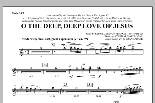 Joseph M. Martin O The Deep, Deep Love Of Jesus (from Harvest Of Sorrows) - Flute 1 & 2 sheet music notes and chords. Download Printable PDF.