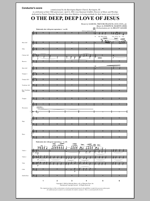 Joseph M. Martin O The Deep, Deep Love Of Jesus (from Harvest Of Sorrows) - Full Score sheet music notes and chords. Download Printable PDF.