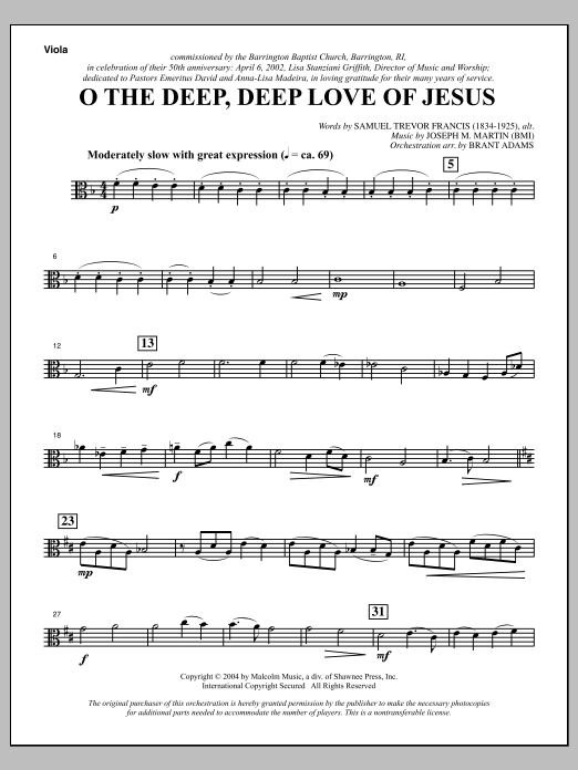 Joseph M. Martin O The Deep, Deep Love Of Jesus (from Harvest Of Sorrows) - Viola sheet music notes and chords. Download Printable PDF.