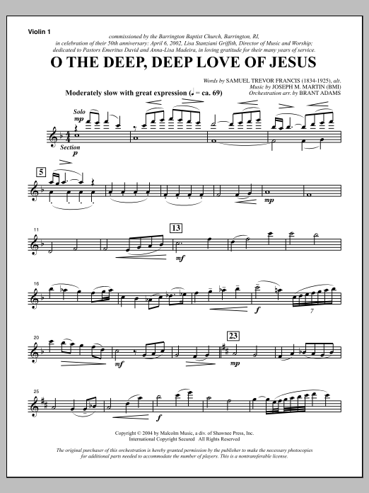 Joseph M. Martin O The Deep, Deep Love Of Jesus (from Harvest Of Sorrows) - Violin 1 sheet music notes and chords. Download Printable PDF.