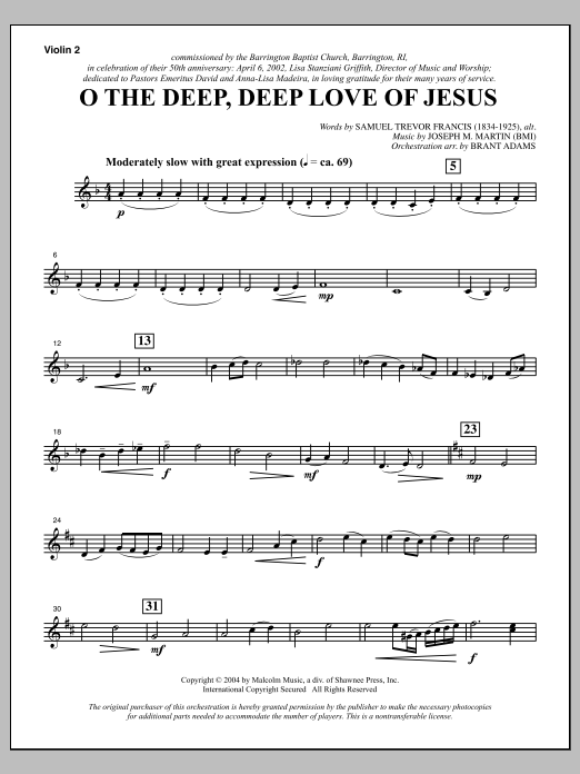 Joseph M. Martin O The Deep, Deep Love Of Jesus (from Harvest Of Sorrows) - Violin 2 sheet music notes and chords. Download Printable PDF.