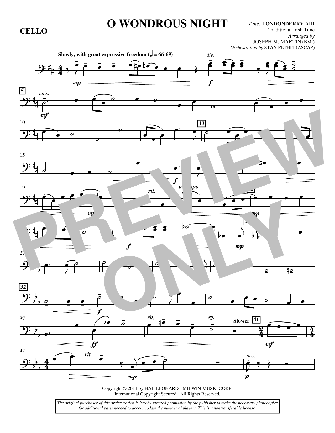 Joseph M. Martin O Wondrous Night - Cello sheet music notes and chords. Download Printable PDF.