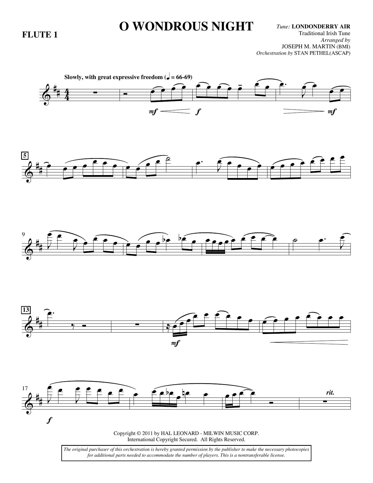 Joseph M. Martin O Wondrous Night - Flute 1 sheet music notes and chords. Download Printable PDF.