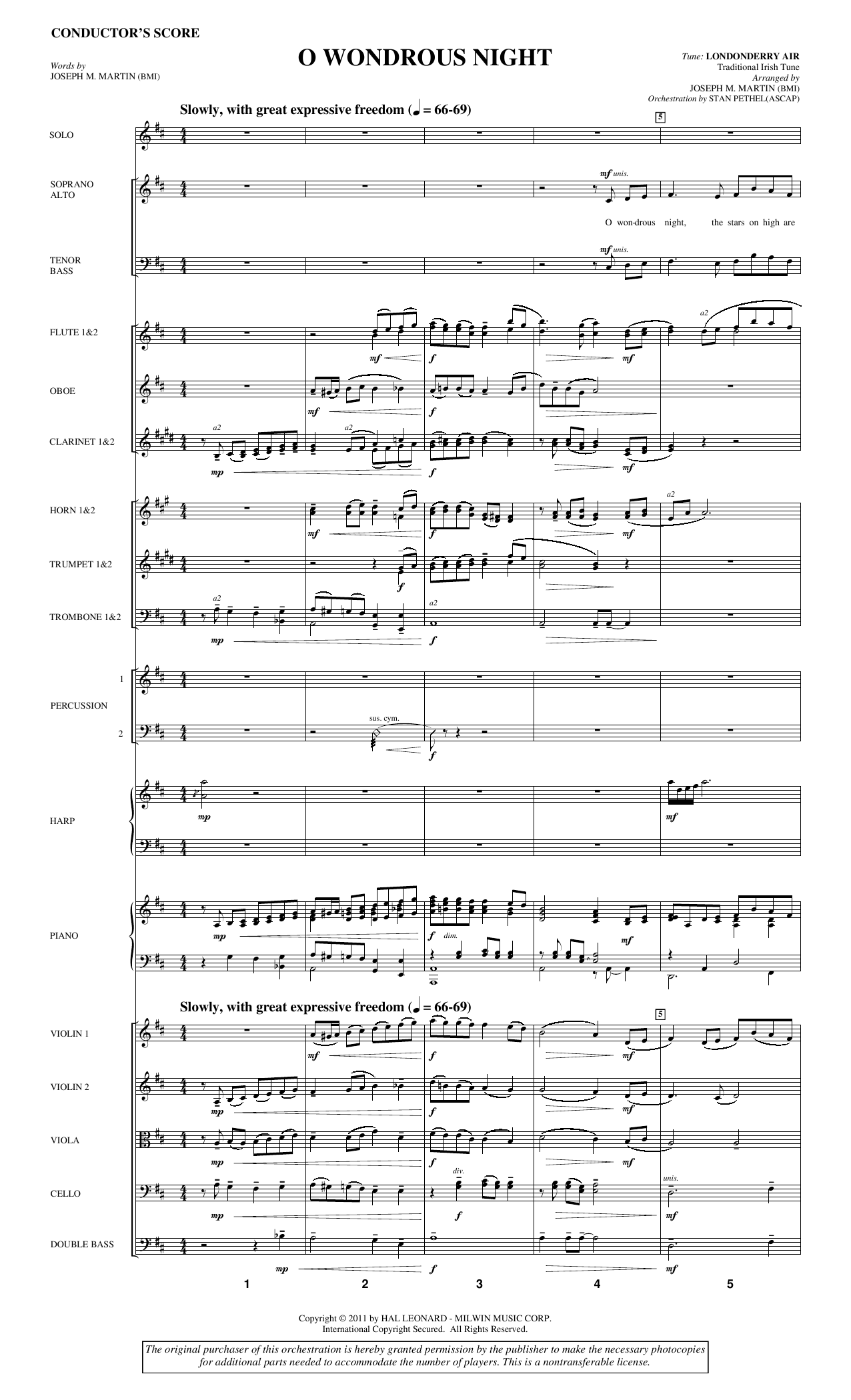 Joseph M. Martin O Wondrous Night - Full Score sheet music notes and chords. Download Printable PDF.