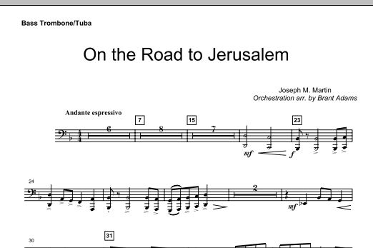 Joseph M. Martin On The Road To Jerusalem - Bass Trombone/Tuba sheet music notes and chords. Download Printable PDF.