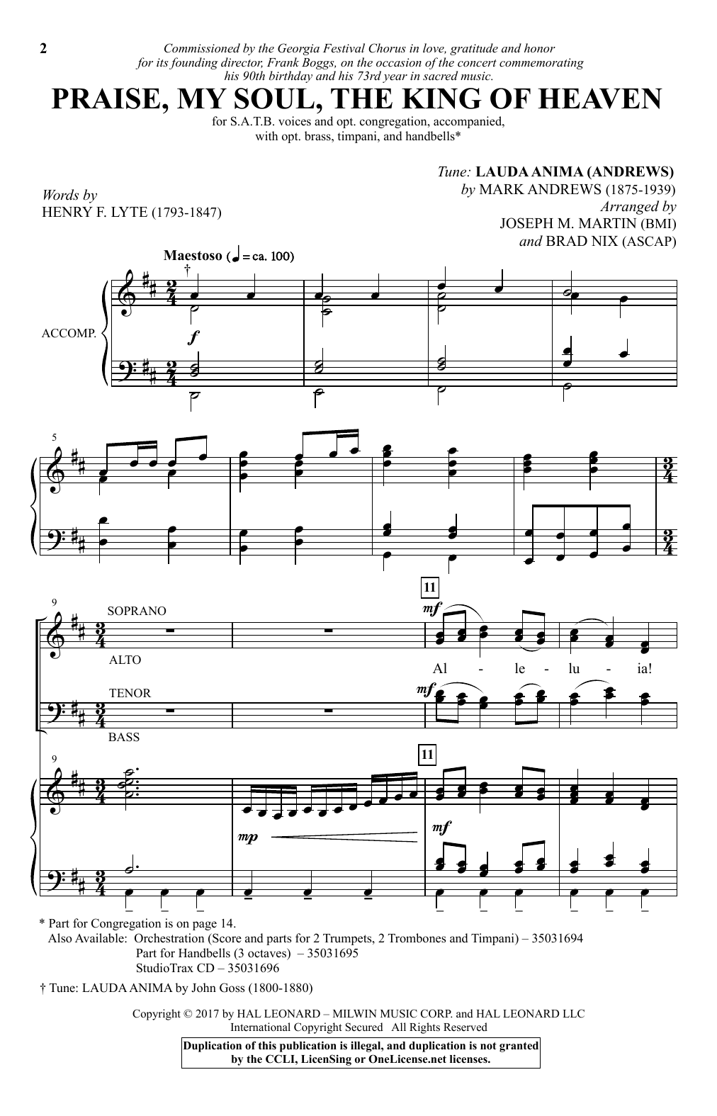 Joseph M. Martin Praise, My Soul, The King Of Heaven sheet music notes and chords