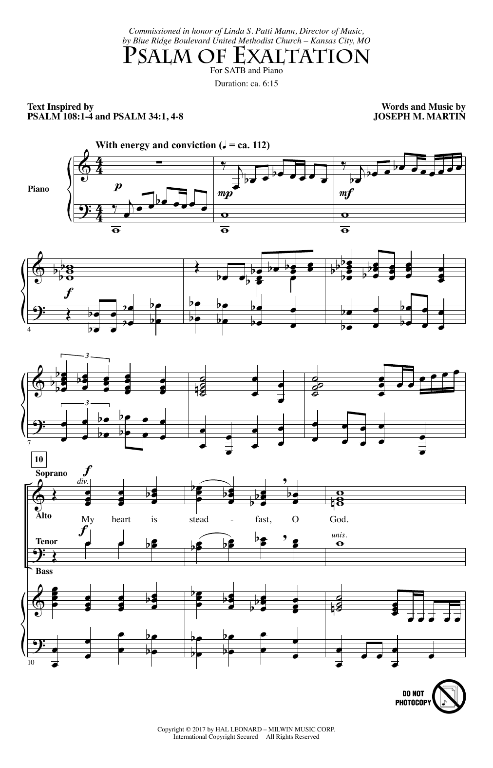 Joseph M. Martin Psalm Of Exaltation sheet music notes and chords. Download Printable PDF.